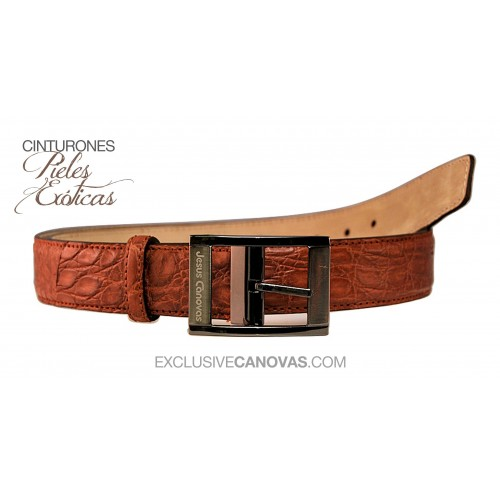 Belt leather crocodile Brown